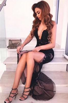 Sexy Backless Black Evening Dresses   V-neck Appliques Formal Dresses with Slit_2