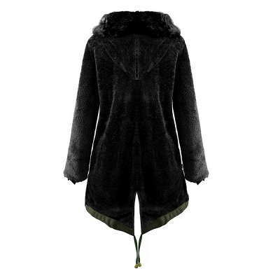 Army Green Faux Fur-trimmed long-length Coat | Classic Solid Color Winter/Fall Jacket_17