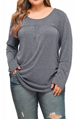 Plain Designs Plus Size Long Sleeves Tunic Blouses