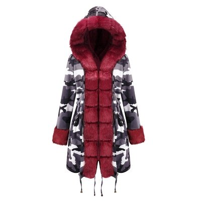 Women's Hooded Camouflage Faux Fur Fashionista Jacket | Mid-length Overcoat in Burgundy/Black/Gray Shawl Collar_28