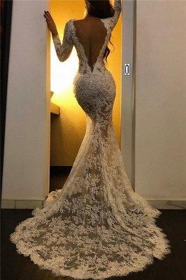 Apliques de encaje sexy vestidos de noche blancos | Vestidos de fiesta baratos de manga larga con abertura_2