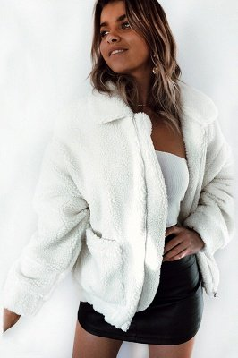 Going out Basic Regular Faux Fur Coat| Solid Colored Stand Long Sleeve Faux Fur White / Brown / Black_13