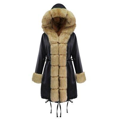Manteau long garni de fausse fourrure noire   Manteau chaud en fourrure à capuche bordeaux / noir / gris Col châle_22