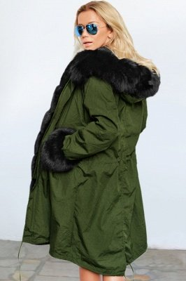 Cheap Army Green Faux Fur-trimmed long-length Coat | Classic Solid Color Winter/Fall Jacket