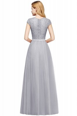 Elegant Lace Top Cap Sleeves Long Tulle Bridesmaid Dresses_24