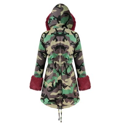 Electric Army Green Faux Fur Chubby Jacket | Superstar Faux Fur Coat in Burgundy/Black/Gray Shawl Collar_38