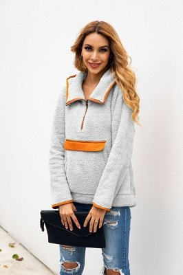 Going out Regular Hooded Fur Coat   Solid Colored Turndown Neck Long Sleeve Faux Fur Pink / Gray / Khaki_14
