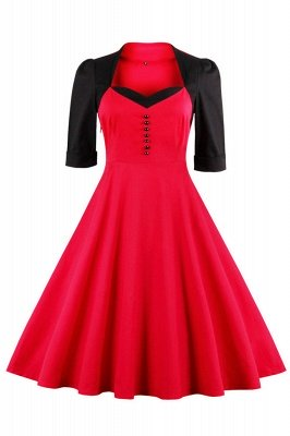 Half Sleeve A Line Vintage Dress with Self-tie Bow | Clearance sale and free shipping