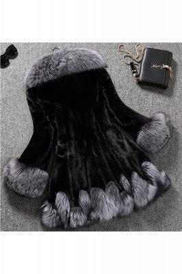 Manteau mi-long à capuche en fausse fourrure noir / blanc | Veste en fausse fourrure à col châle artificiel islandais_5