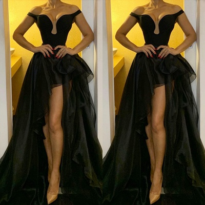 Off The Shoulder Black Evening Dresses for Women | Organza Long Prom Dresses Cheap Online_2