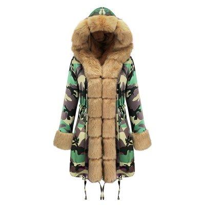 Electric Army Green Faux Fur Chubby Jacket | Superstar Faux Fur Coat in Burgundy/Black/Gray Shawl Collar_33