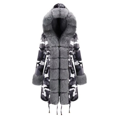 Women's Hooded Camouflage Faux Fur Fashionista Jacket | Mid-length Overcoat in Burgundy/Black/Gray Shawl Collar_26