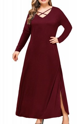 V-neck Long Sleeves Plus Size Tea Length Dresses with Slits