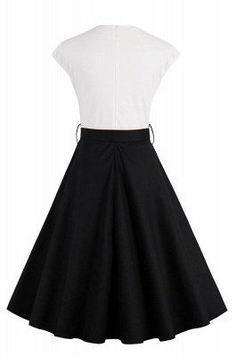 Черное и белое платье с круглым вырезом и круглым вырезом_3