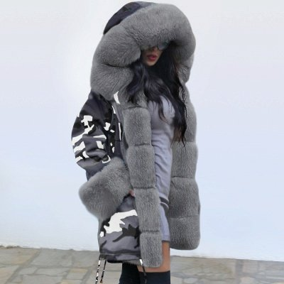 Women's Hooded Camouflage Faux Fur Fashionista Jacket | Mid-length Overcoat in Burgundy/Black/Gray Shawl Collar_11