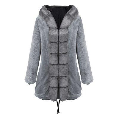 Manteau long garni de fausse fourrure noire   Manteau chaud en fourrure à capuche bordeaux / noir / gris Col châle_38