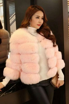 Women's Daily/Party Long Faux Fur Coat | Solid White/Pink/Ruby/Burgundy Colored Round Neck Long Sleeve Faux Fur Overcoat_12