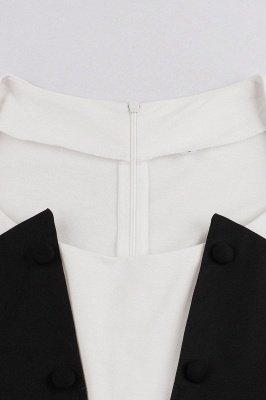 Черное и белое платье с круглым вырезом и круглым вырезом_4