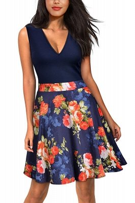 Sleeveless Sexy V-neck A-line Dress with Floral Skirt | Clearance Sale & Free Shipping_4