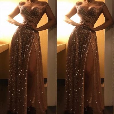Off The Shoulder Sparkly Gold Sequins Evening Dresses | Sexy Side Slit Prom Dresses_3