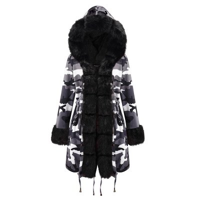 Women's Hooded Camouflage Faux Fur Fashionista Jacket | Mid-length Overcoat in Burgundy/Black/Gray Shawl Collar_24