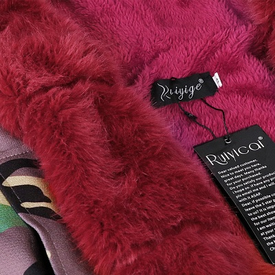 Electric Army Green Faux Fur Chubby Jacket | Superstar Faux Fur Coat in Burgundy/Black/Gray Shawl Collar_25