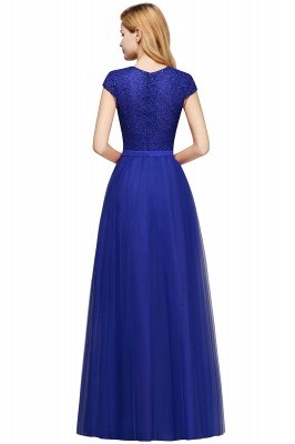 Elegant Lace Top Cap Sleeves Long Tulle Bridesmaid Dresses_20