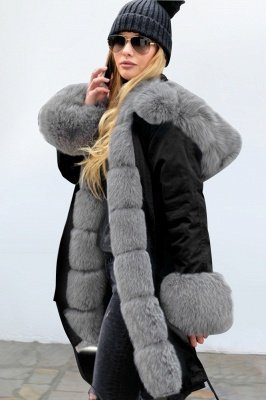 Black Faux Fur-trimmed Long-length Overcoat | Warm Hooded Fur Coat in Burgundy/Black/Gray Shawl Collar