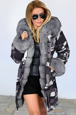 Women's Hooded Camouflage Faux Fur Fashionista Jacket | Mid-length Overcoat in Burgundy/Black/Gray Shawl Collar_4