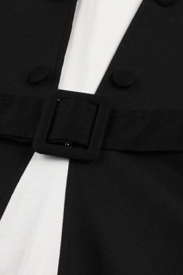 Черное и белое платье с круглым вырезом и круглым вырезом_7