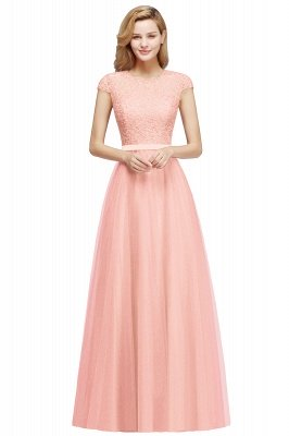 Elegant Lace Top Cap Sleeves Long Tulle Bridesmaid Dresses_1
