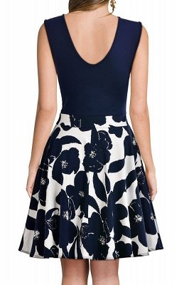 Sleeveless Sexy V-neck A-line Dress with Floral Skirt | Clearance Sale & Free Shipping_15