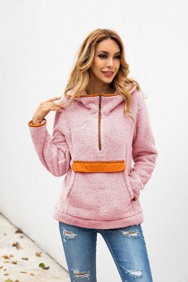 Going out Regular Hooded Fur Coat   Solid Colored Turndown Neck Long Sleeve Faux Fur Pink / Gray / Khaki_18