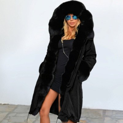 Black Faux Fur-trimmed Long-length Overcoat | Warm Hooded Fur Coat in Burgundy/Black/Gray Shawl Collar_30