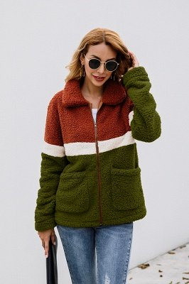 Basic Plus Size Two toned Long Fur Coat | Solid Colored Turndown Long Sleeve Overcoat Black/Green_15