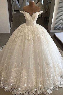 Schulterfreie Ballkleider aus Spitze | Formale Brautkleider aus Tüll_1