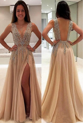 V-Neck A-line Crystal Prom Dresses | Sleeveless Side Slit Evening Dresses
