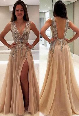 Robes de bal en cristal avec une ligne de v-cou | Robes de soirée fendue côté sans manches