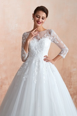 Canace | Romantic Long sleeves Lace Ball Gown Wedding Dress, Fully covered Buttons Bridal Gowns with Court Train_7