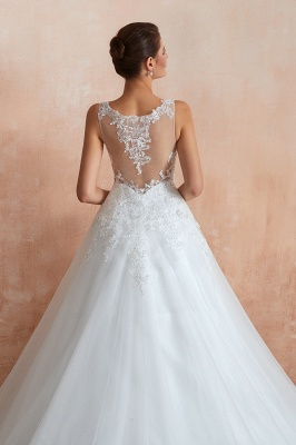 Carly | Sexy Pluging V-neck Ball Gown Wedding Dress with Chapel Train, Affordable Bridal Gowns with see-through Lace Back_2