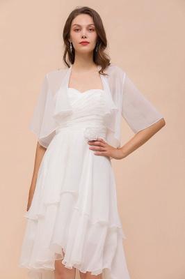 White Sweetheart Sleeveless Chiffon Knee Length Wedding Dress with Cape