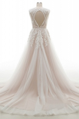 Elegante A-Linie Brautkleid aus Tüll mit Spitzenapplikationen T-Shirt Abendkleid_3