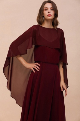 Burgundy Sleeveless Chiffon Aline Long Wedding Dress with Cape
