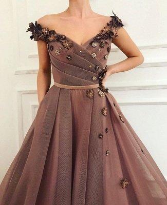 Impresionante vestido de fiesta marrón | Vestidos de noche con cuello en V y vestidos de fiesta_1