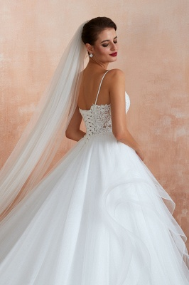 Camille | White Ball Gown Wedding Dress with Chapel Train, Spaghetti Strap See-through Lace up Bridal Gowns for Sale_3