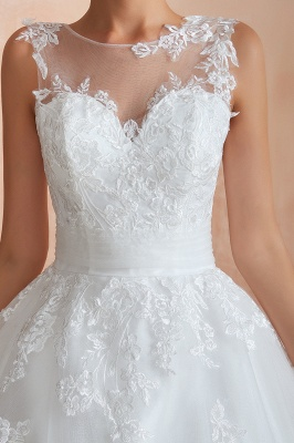 Cain   Illusion Neck White Wedding Dress with exqusite Lace Appliques, Sleeveless V-back Bridal Gowns Online_5
