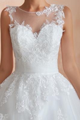 قابيل | الوهم العنق فستان الزفاف الأبيض مع يزين الدانتيل exqusite ، بلا أكمام الخامس عودة أثواب الزفاف رخيصة على الانترنت_5