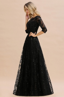 Acacia | Scoop neck Long Sleeves Black Prom Dresses with Sparkly Floral Designs_6