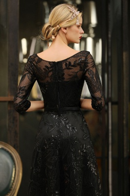 Acacia | Scoop neck Long Sleeves Black Prom Dresses with Sparkly Floral Designs_10