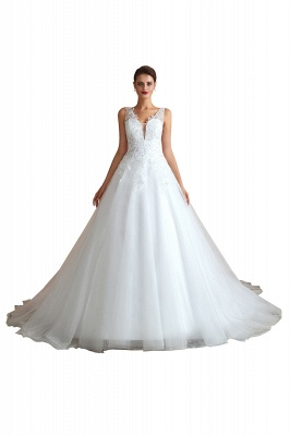 Carly | Sexy Pluging V-neck Ball Gown Wedding Dress with Chapel Train, Affordable Bridal Gowns with see-through Lace Back_11